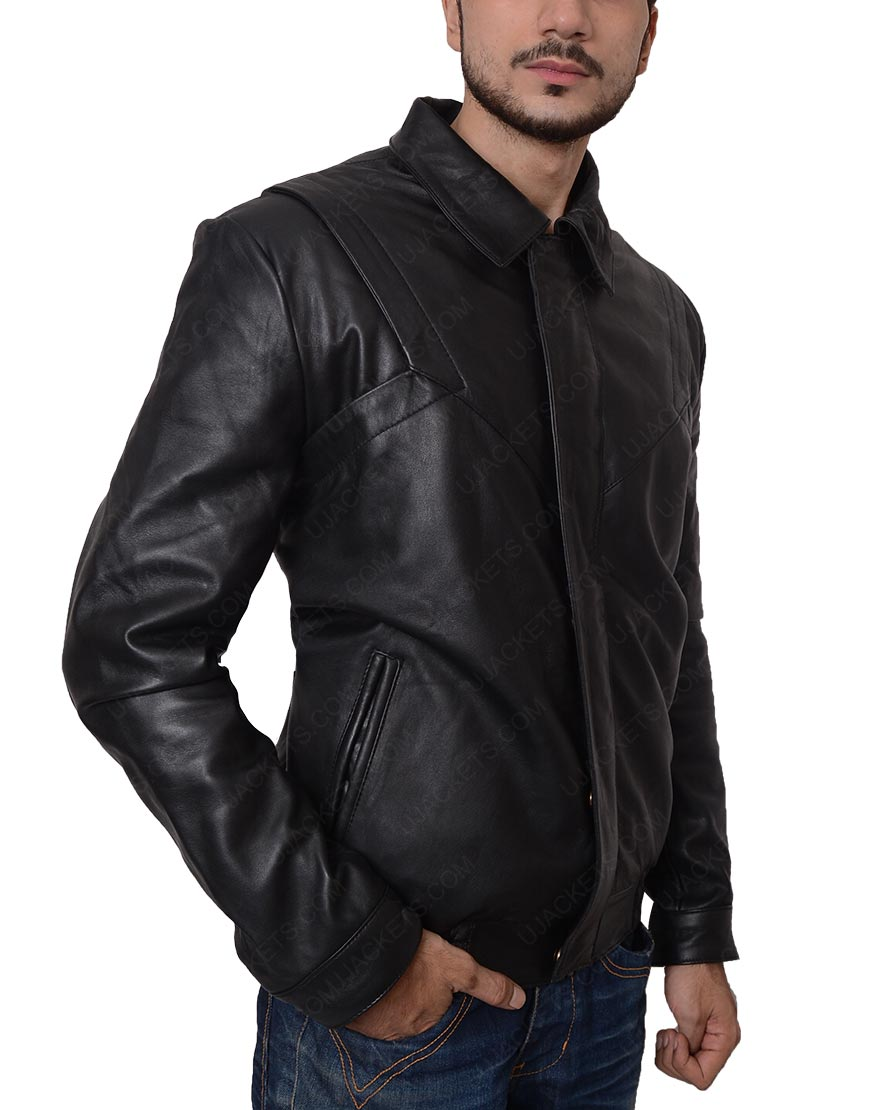 David Hasselhoff Black Leather Jacket