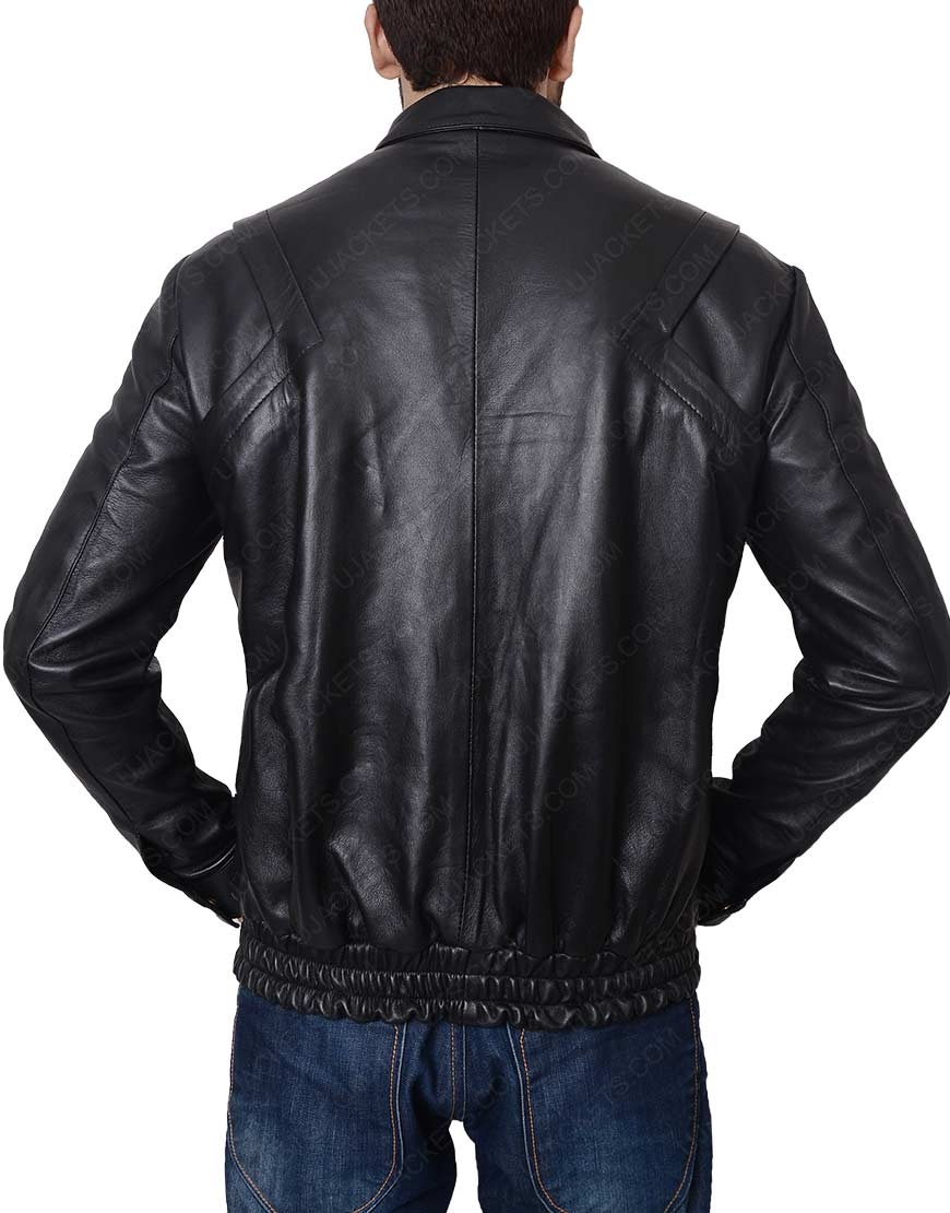 Michael Knight Rider David Hasselhoff Black Leather Jacket
