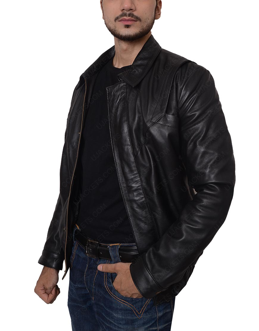 Rider David Hasselhoff Black Leather Jacket