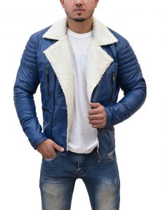 Shearling Blue Leather Jacket