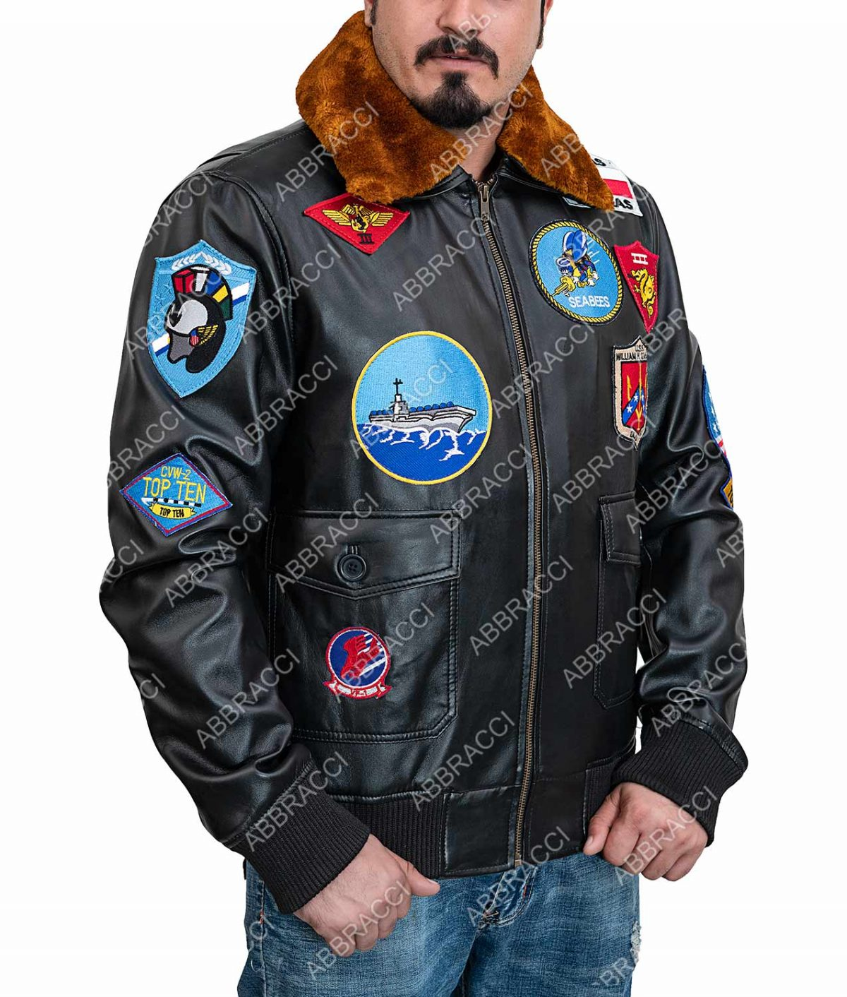 Tom Cruise Top Gun Maverick Brown Leather Bomber Jacket