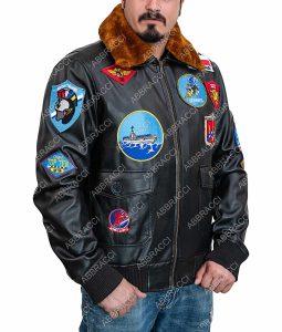 Tom Cruise Top Gun Maverick Brown Leather Bomber Jacket