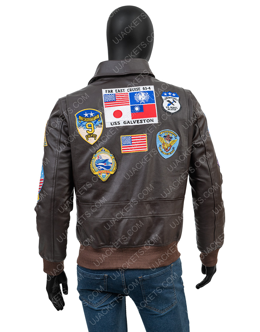 Top Gun Brown Leather Bomber Jacket