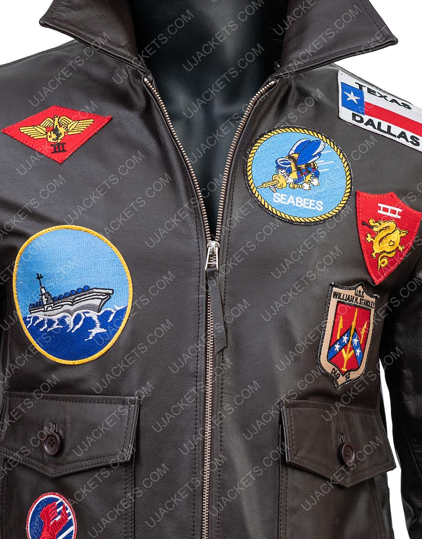 Top Gun Maverick Brown Leather Bomber Jacket