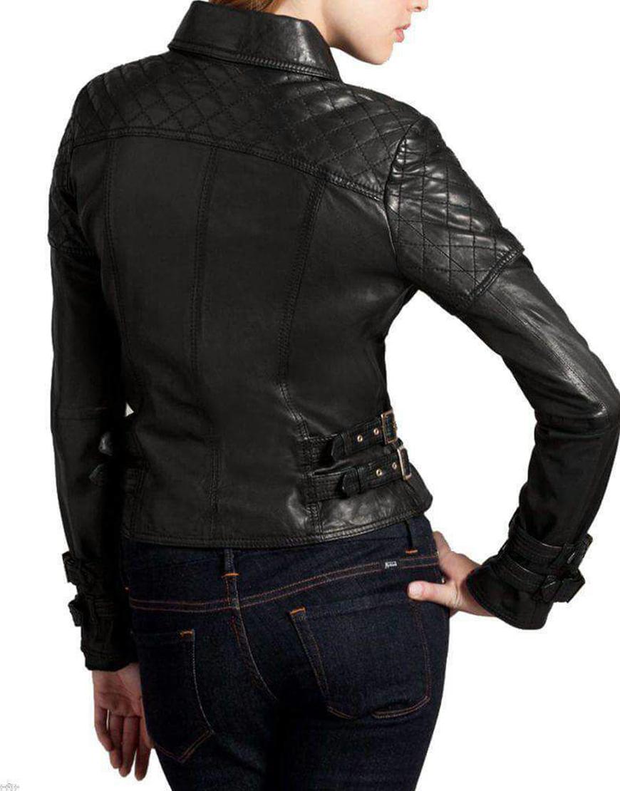 Women's Biker Style Buckle Straps Black Leather Jacket
