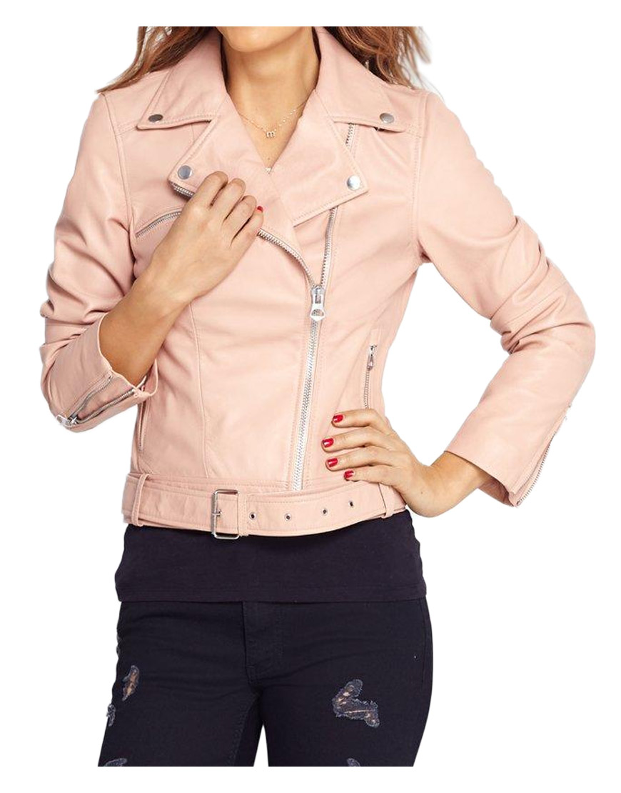 18a12a5beef4 Women s Asymmetrical Baby Pink Leather Jacket - UJackets