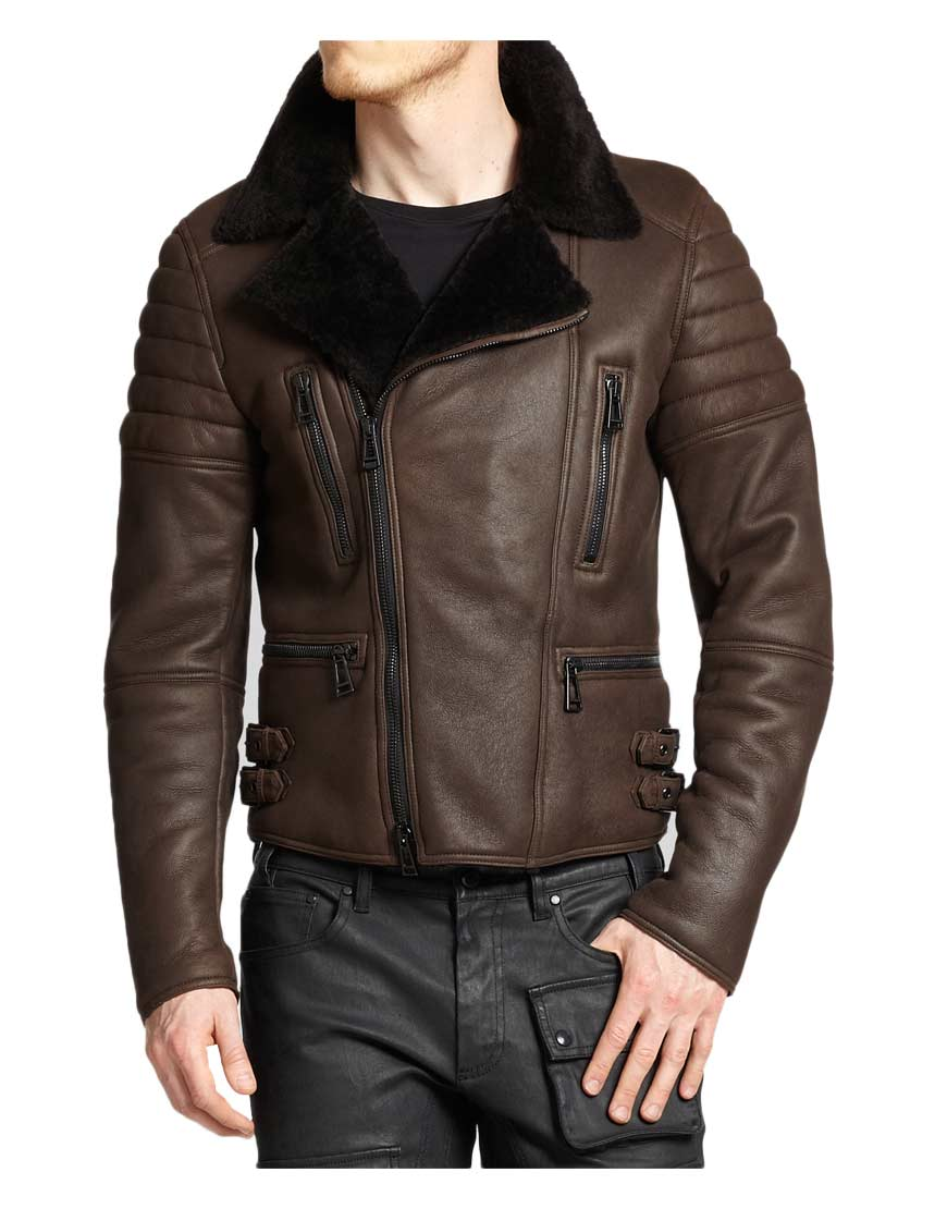4d231a4d7eb6 Men s Classic Motorcycle Asymmetrical Brown Leather Shearling Jacket ...