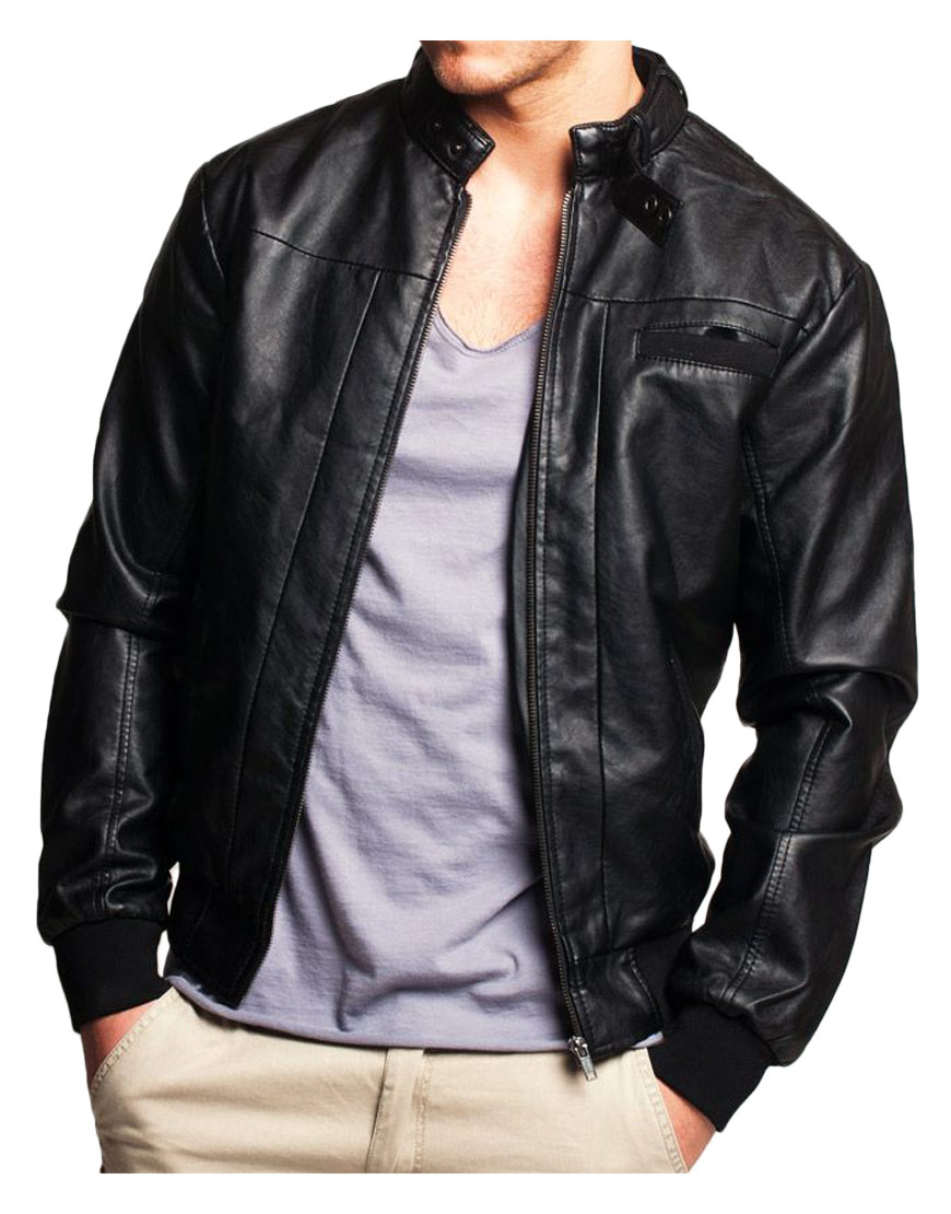 mens-black-leather-bomber-jacket