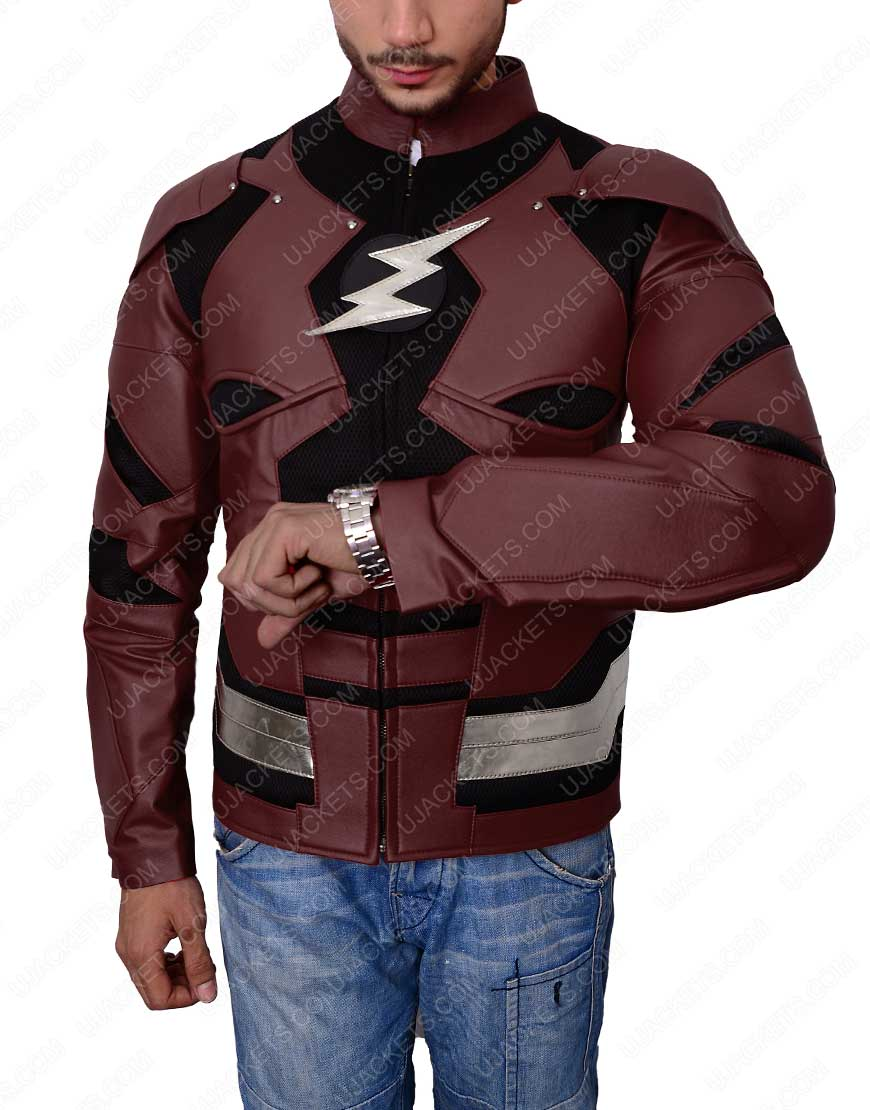 flash justice league leather jacket