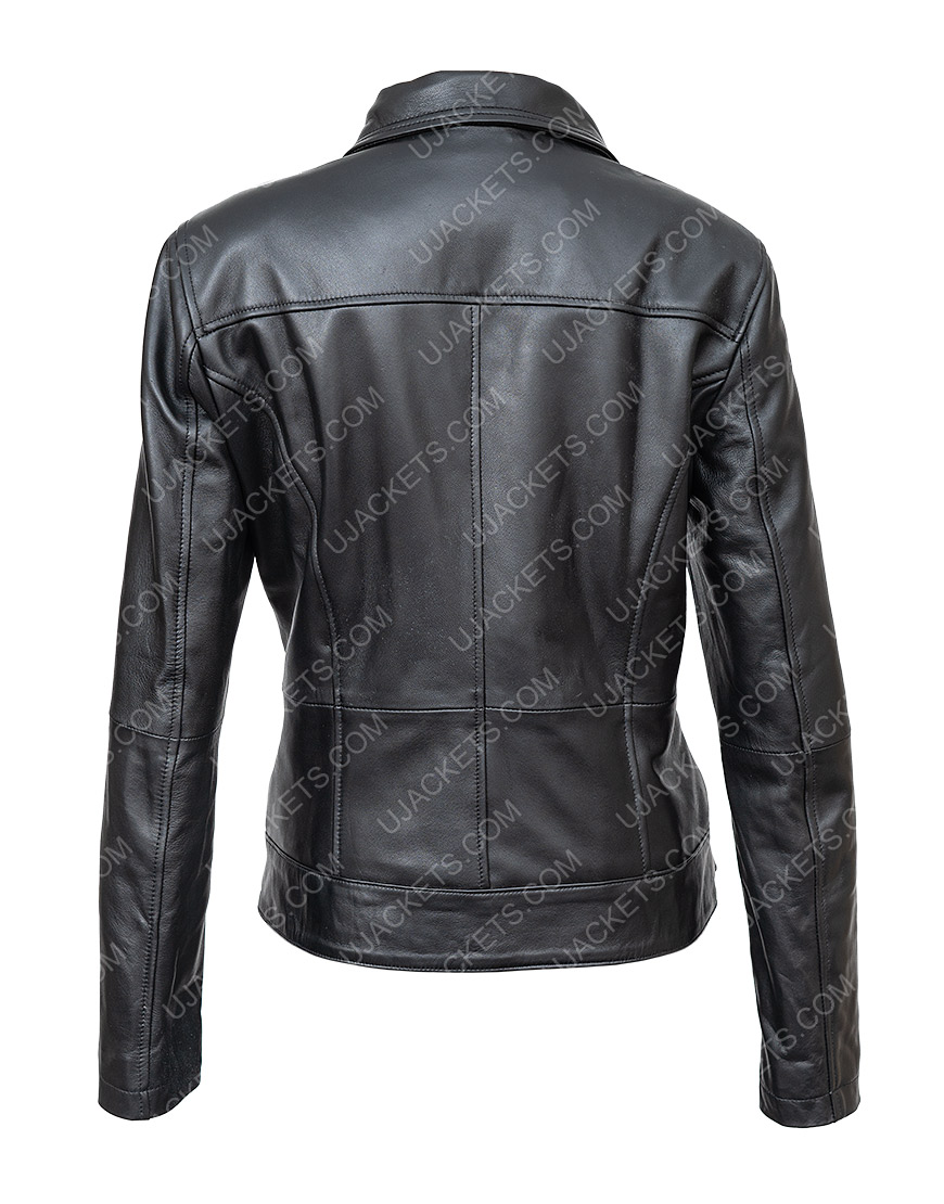 In The Fade Katja Sekerci Cotton and Black Leather Jacket Back