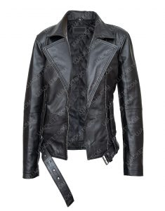 In The Fade Katja Sekerci Cotton and Black Leather Jacket Front