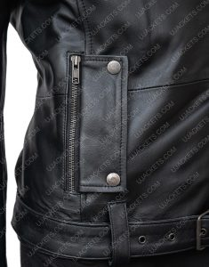 In The Fade Katja Sekerci Cotton and Black Leather Jacket Pocket