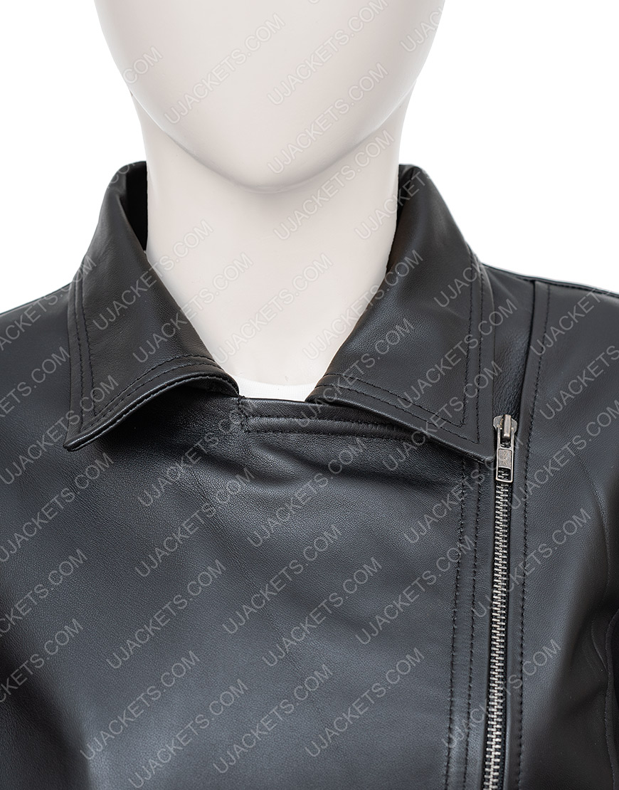 In The Fade Katja Sekerci Cotton and Black Leather Jacket Zip