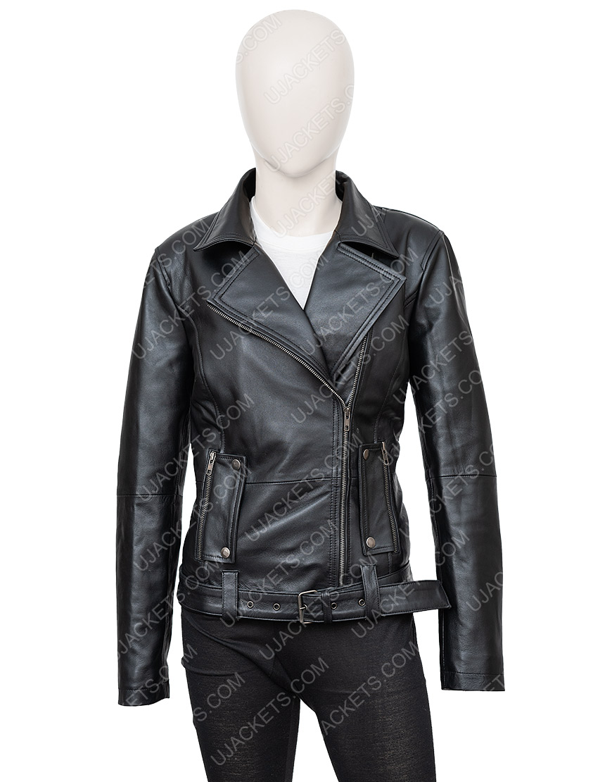 In The Fade Katja Sekerci Cotton and Black Leather Jacket