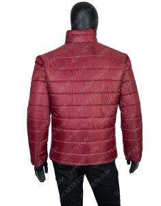 Men's Burgundy Color Parachute Fabric Down Puffer Jacket