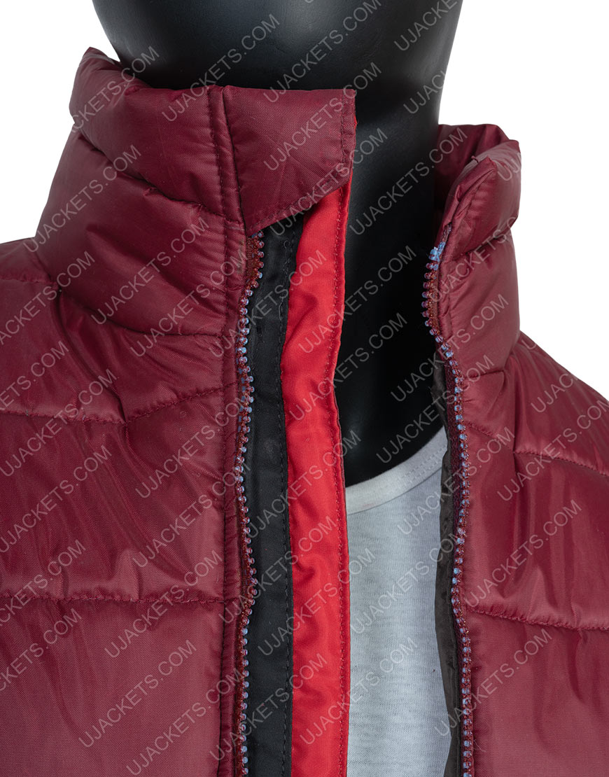 Men's Quilted Burgundy Color Fabric Down Puffer Jacket