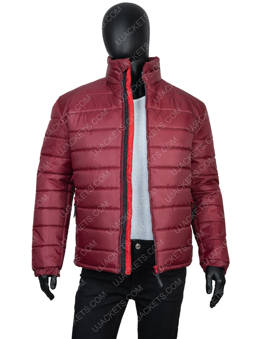 Men's Quilted Burgundy Color Parachute Fabric Down Jacket