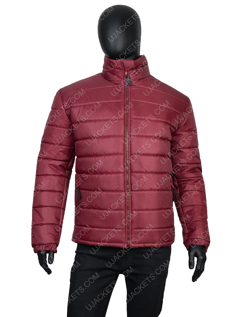 Men's Quilted Burgundy Color Parachute Fabric Down Puffer Jacket