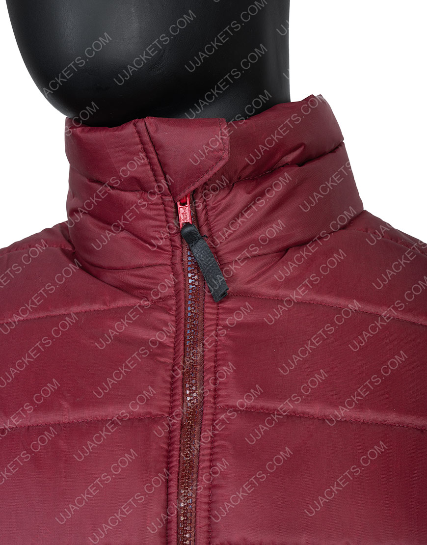 Men's Quilted Burgundy Parachute Down Puffer Jacket