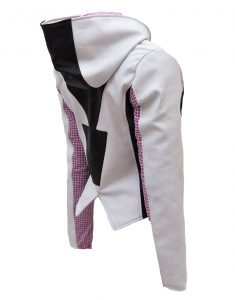 White and Black Spider Gwen Hoodie Leather Jacket