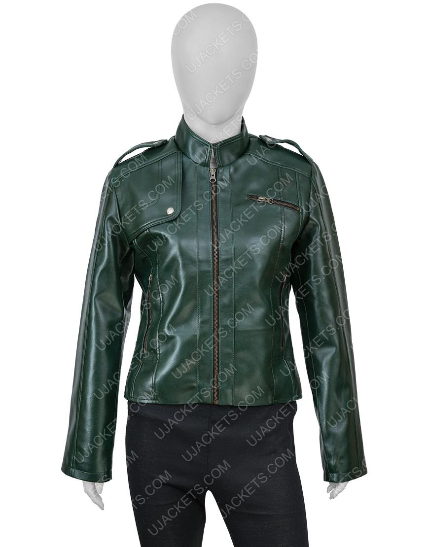 Women's Green Faux Leather Jacket