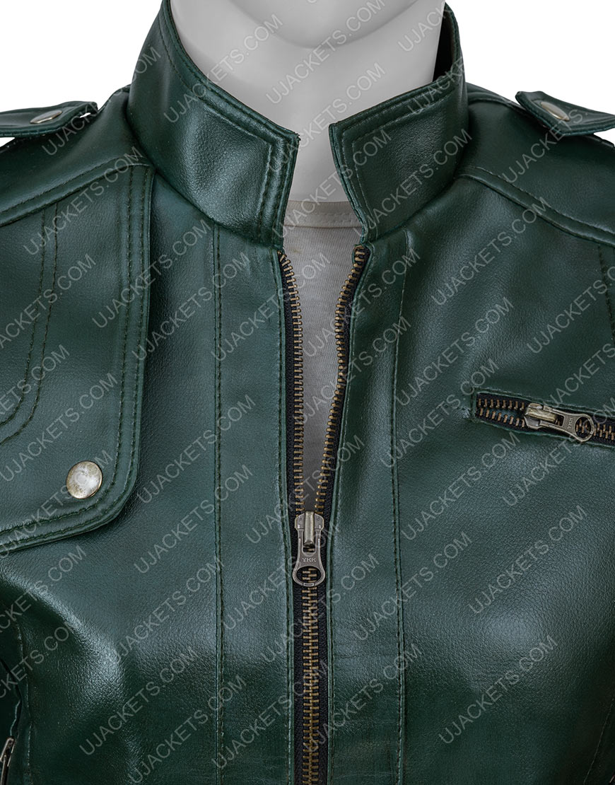 Women's Green Leather Jacket