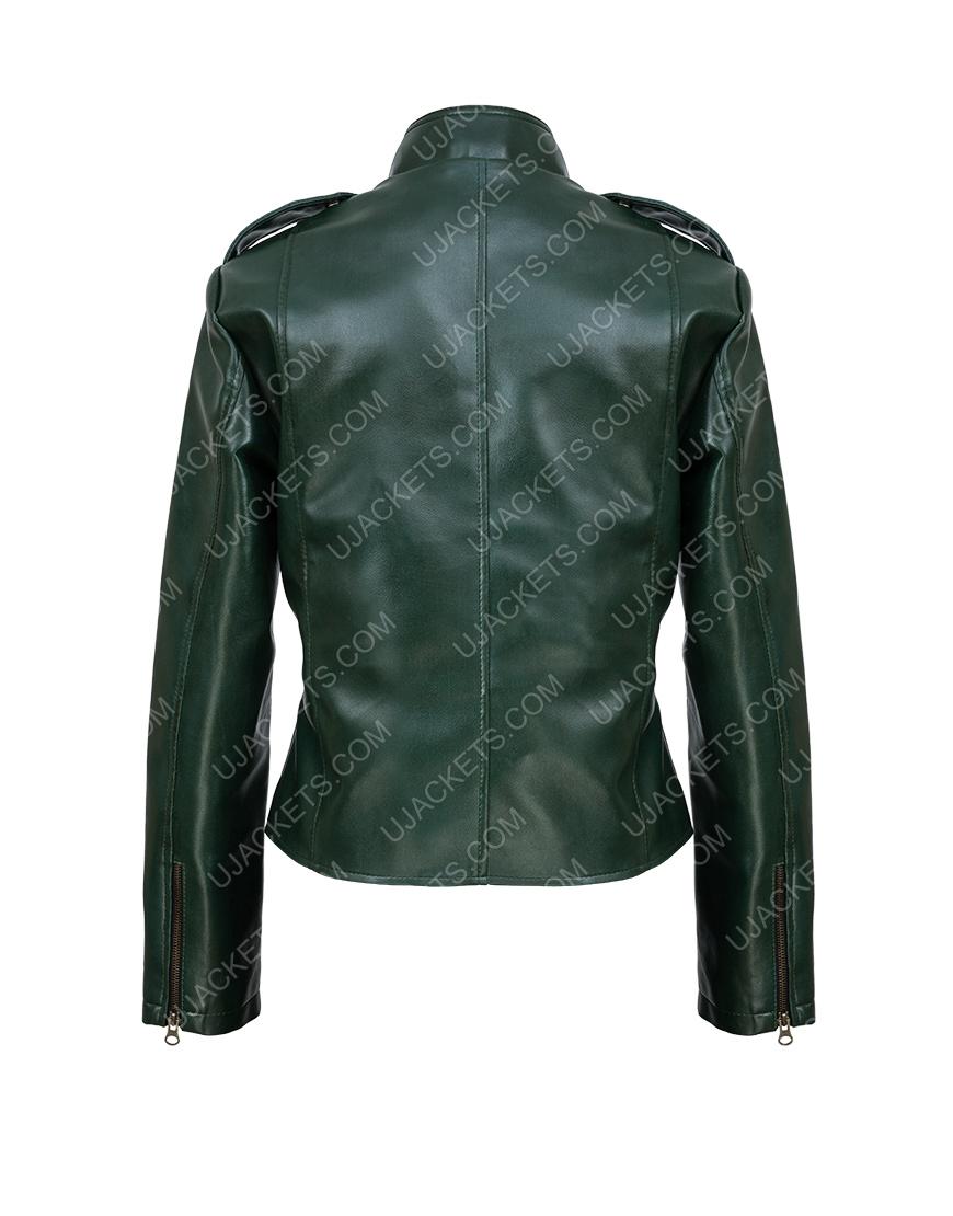 Women's Leather Green Moto Jacket