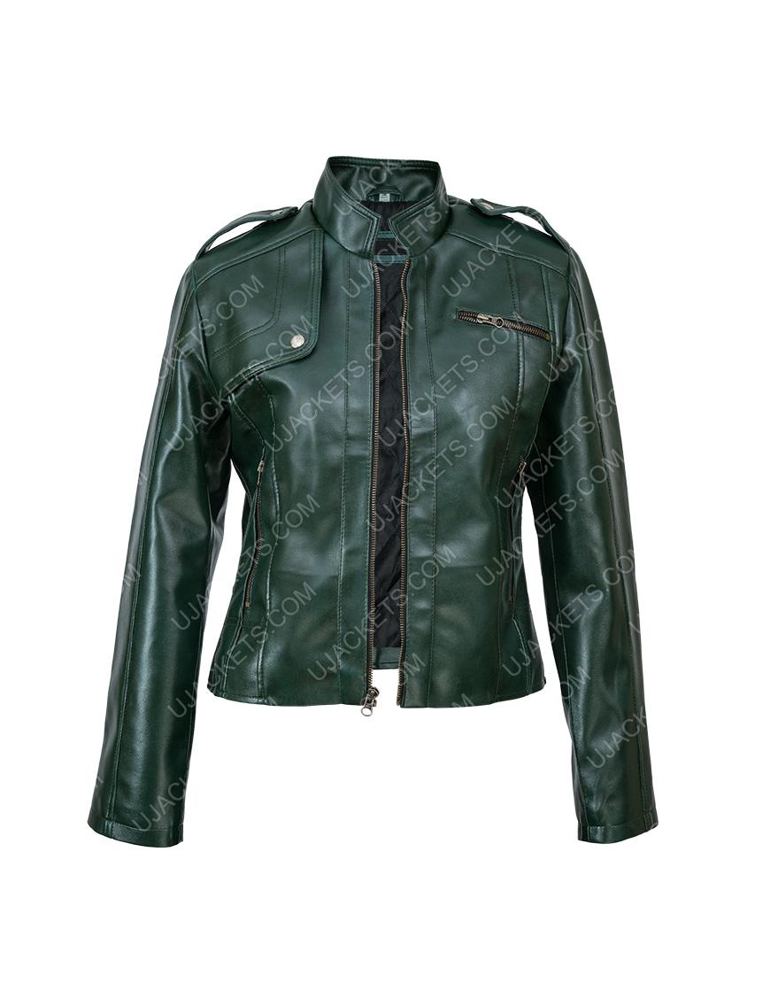 Women Green Faux Leather Moto Jacket