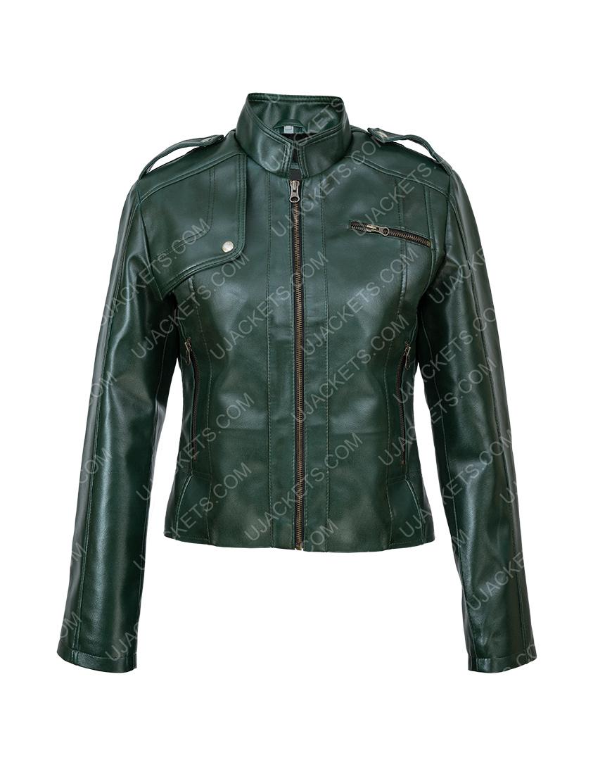Women Green Leather Moto Jacket
