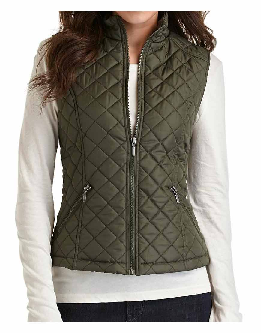 zipper closure womens green quilted vest ujackets. Black Bedroom Furniture Sets. Home Design Ideas