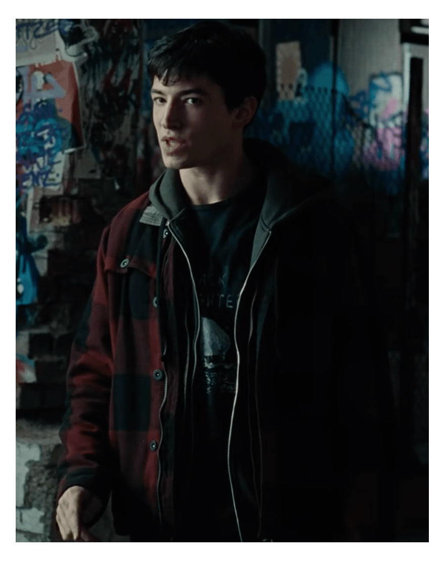 Mens Flash Barry Allen Justice League Log Black Hoodie Synthetic Leather Jacket