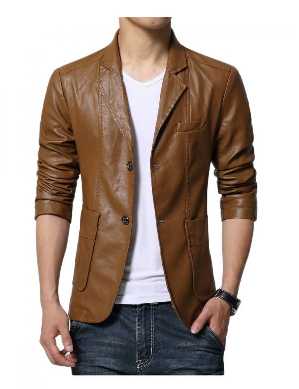 slim-fit-leather-blazer
