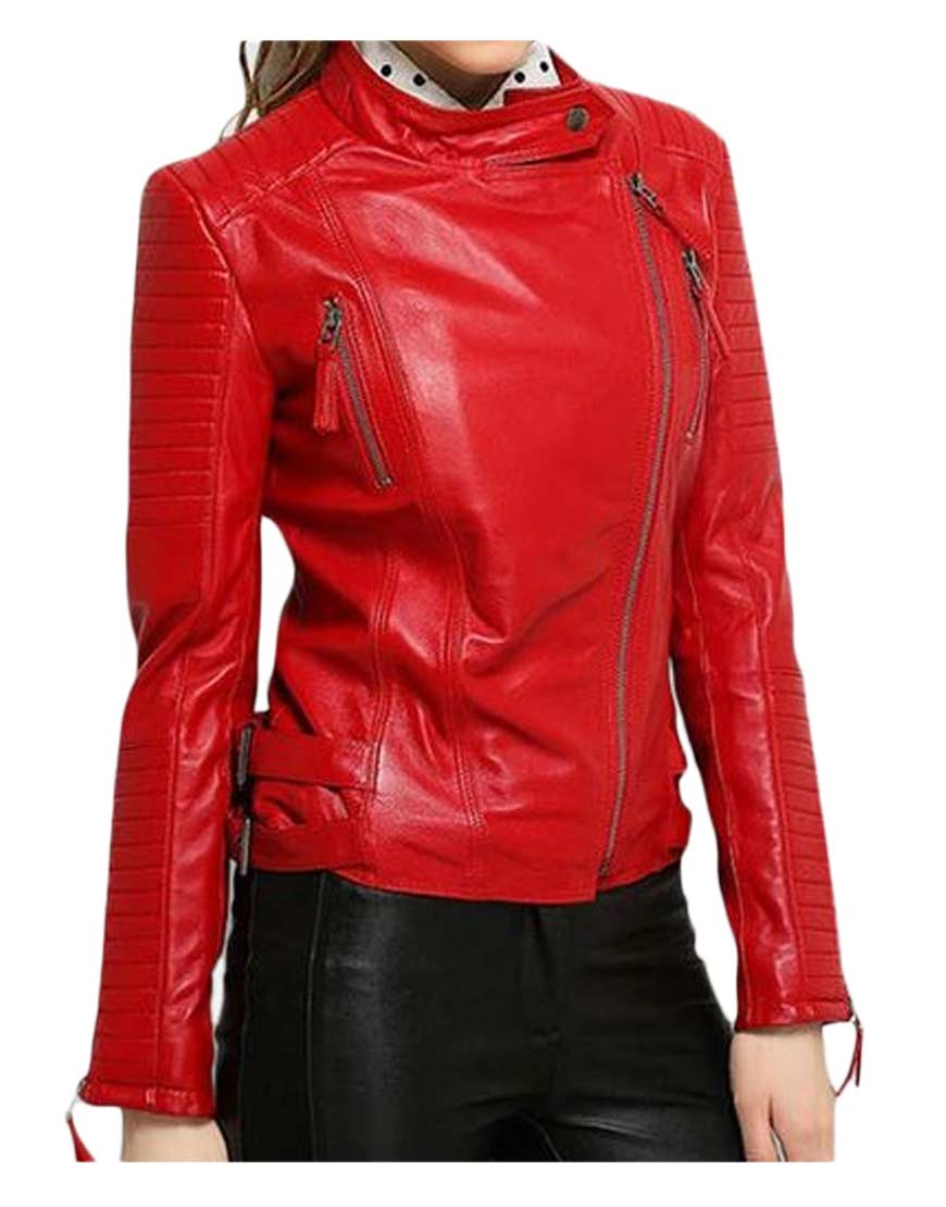 Asymmetrical zipper elegant womens red leather motorcycle for Red leather shirt for womens
