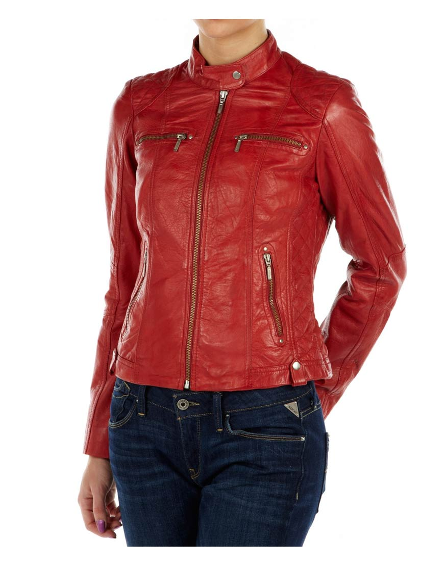 943f093a1 Classic Womens Red Leather Motorcycle Jacket - UJackets