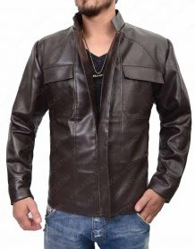 Star Wars The Last Jedi Oscar Isaac Brown Leather Jacket