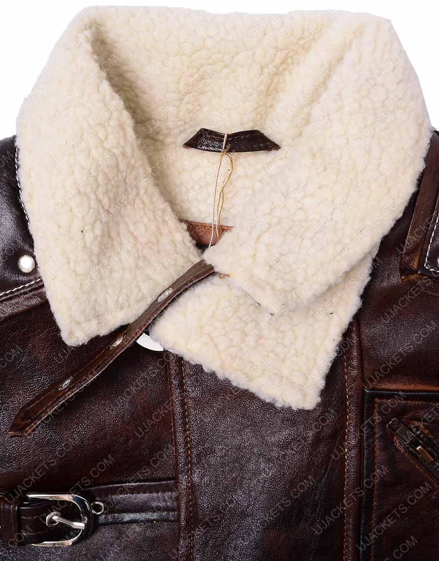 bj blazkowicz brown leather jacket