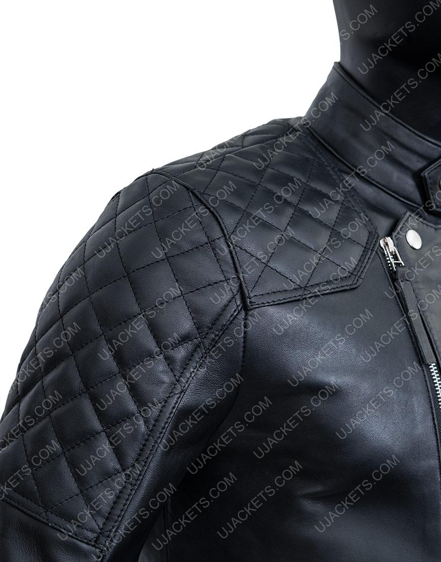 Black Leather Biker Jacket Damian LewisBillionsBobby Axelrod