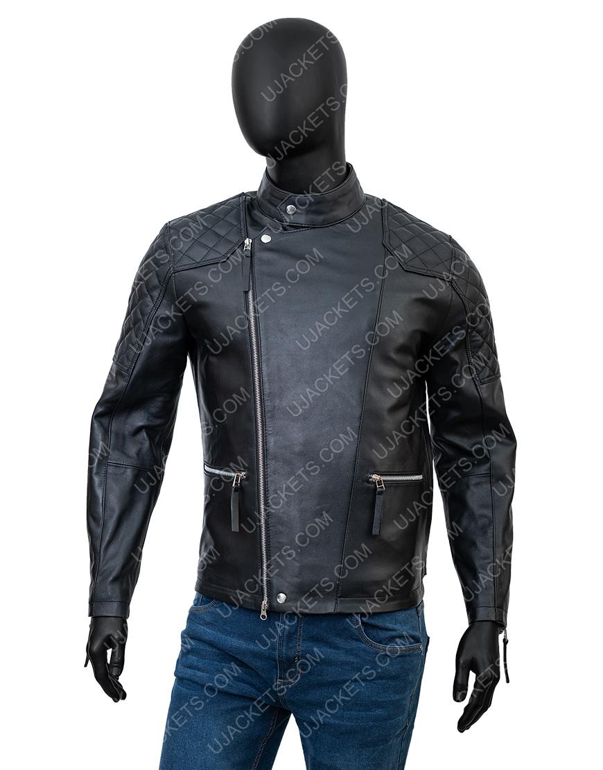 Damian LewisBillionsBobby Axelrod Black Leather Biker Jacket