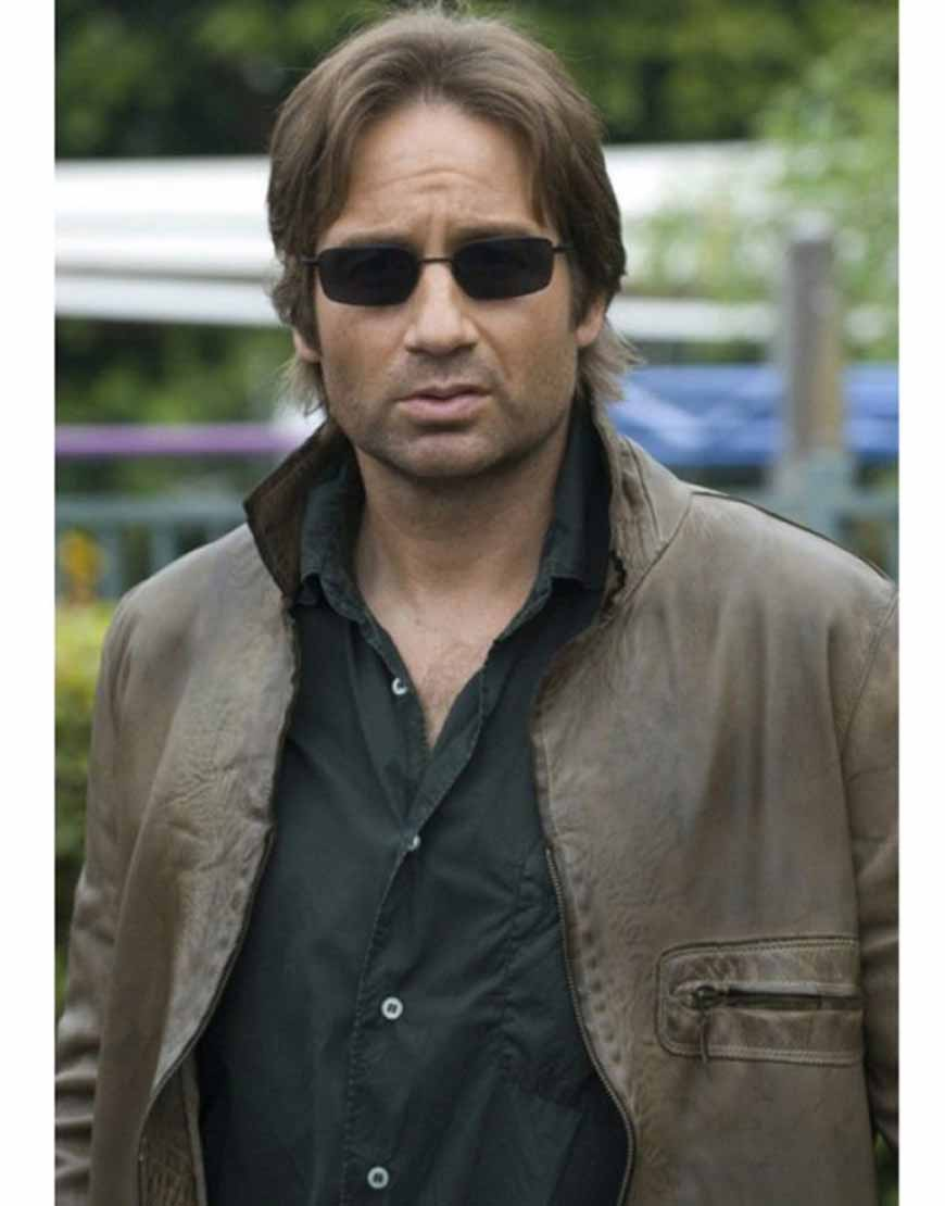 hank moody brown leather jacket