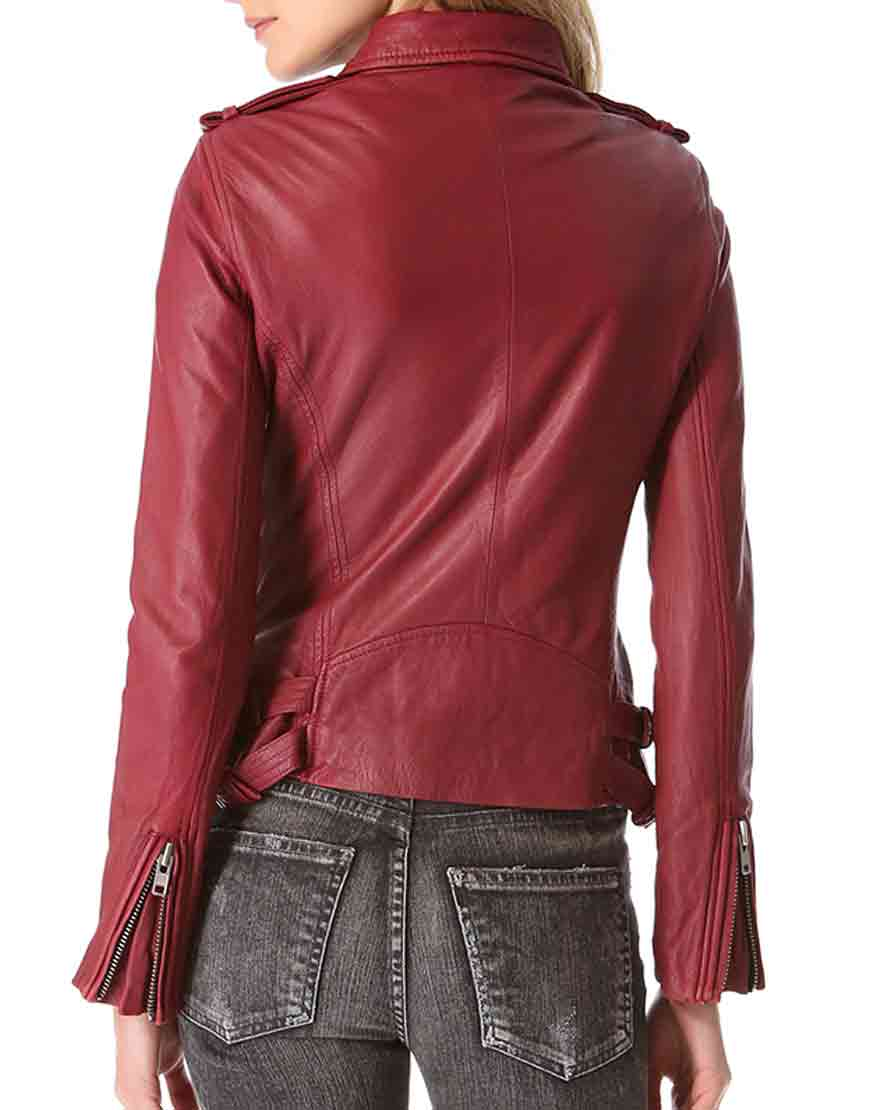 kate beckett red leather jacket