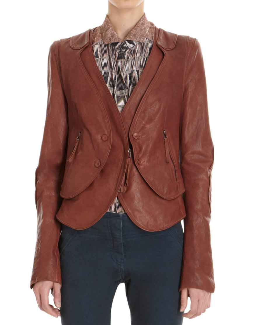 kate beckett brown leather jacket