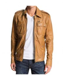 50 cent tan leather jacket