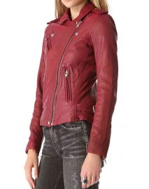 stana katic castle red leather jacket