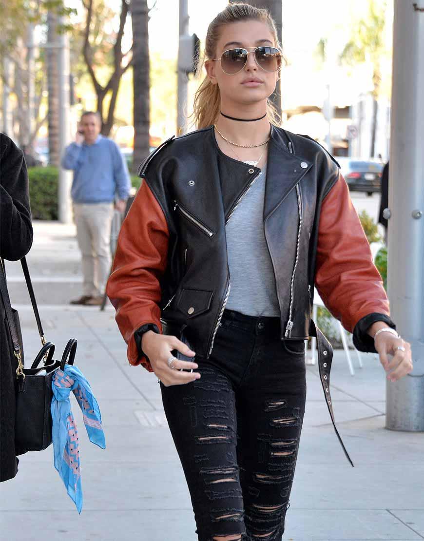Hailey Rhode Baldwin Collarless Leather Jacket