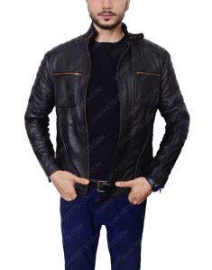 arrow john black leather jacket