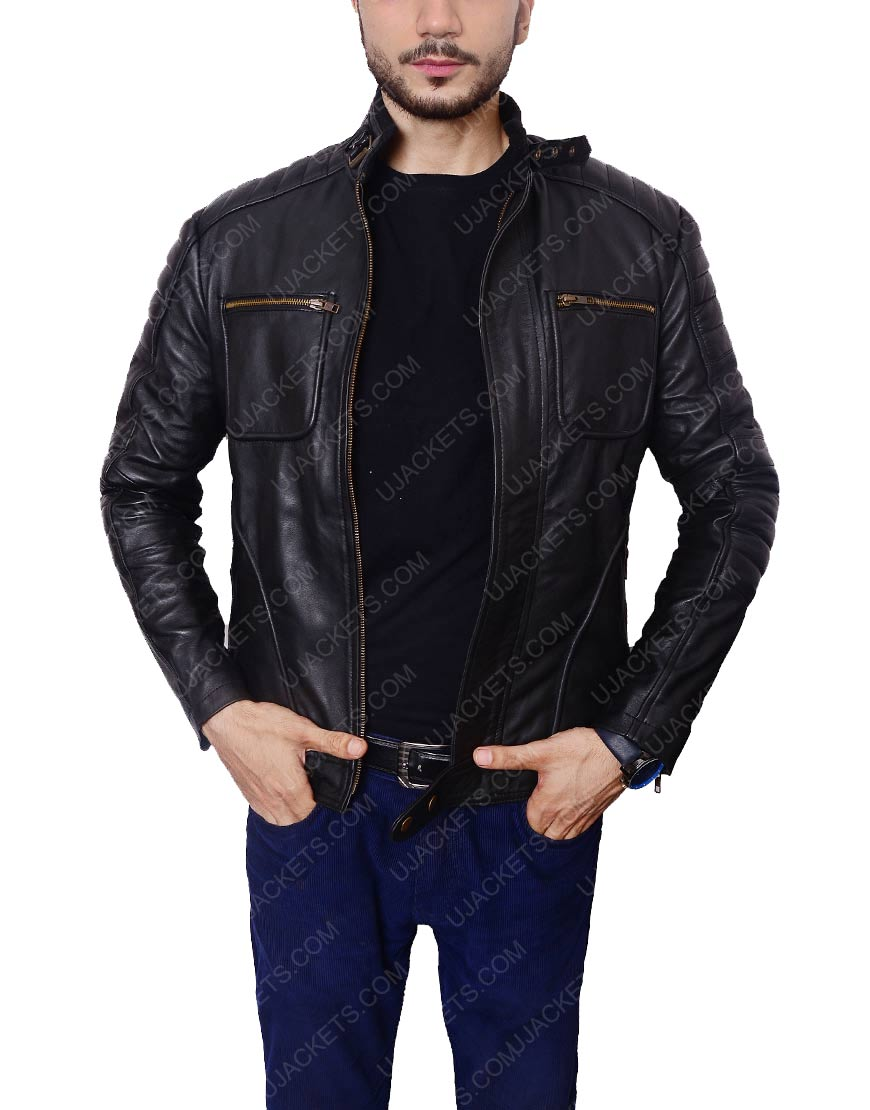arrow john black leather jacket