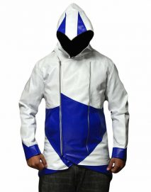 blue and white assassins creed jacket