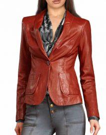 womens red leather blazer