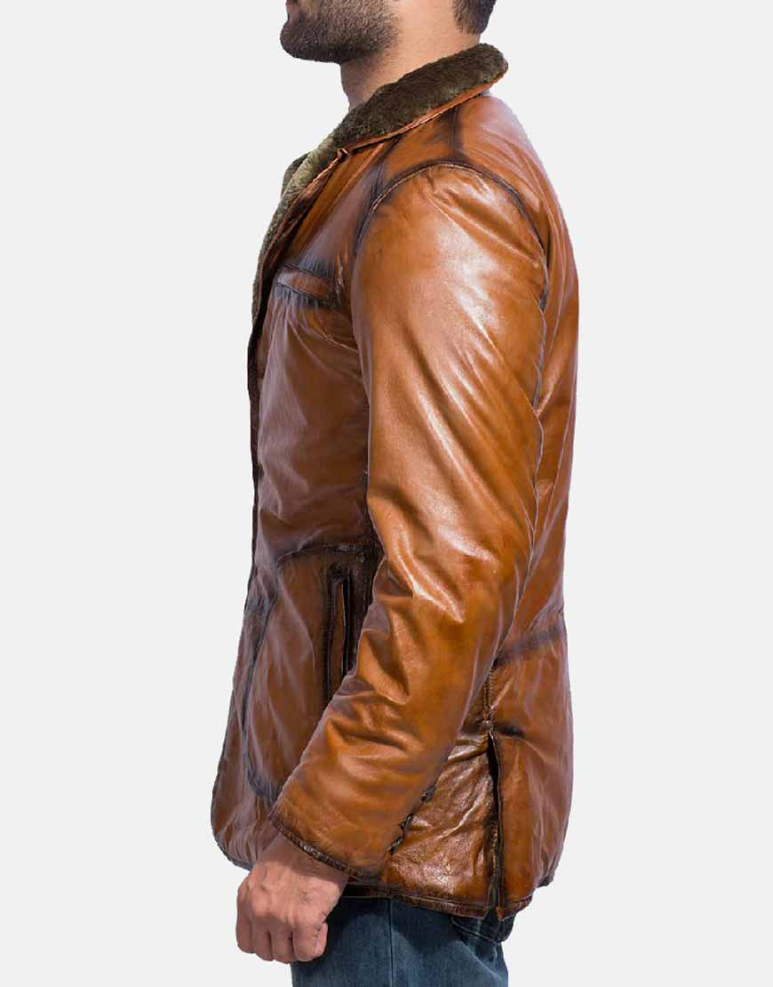 brown fur leather coat