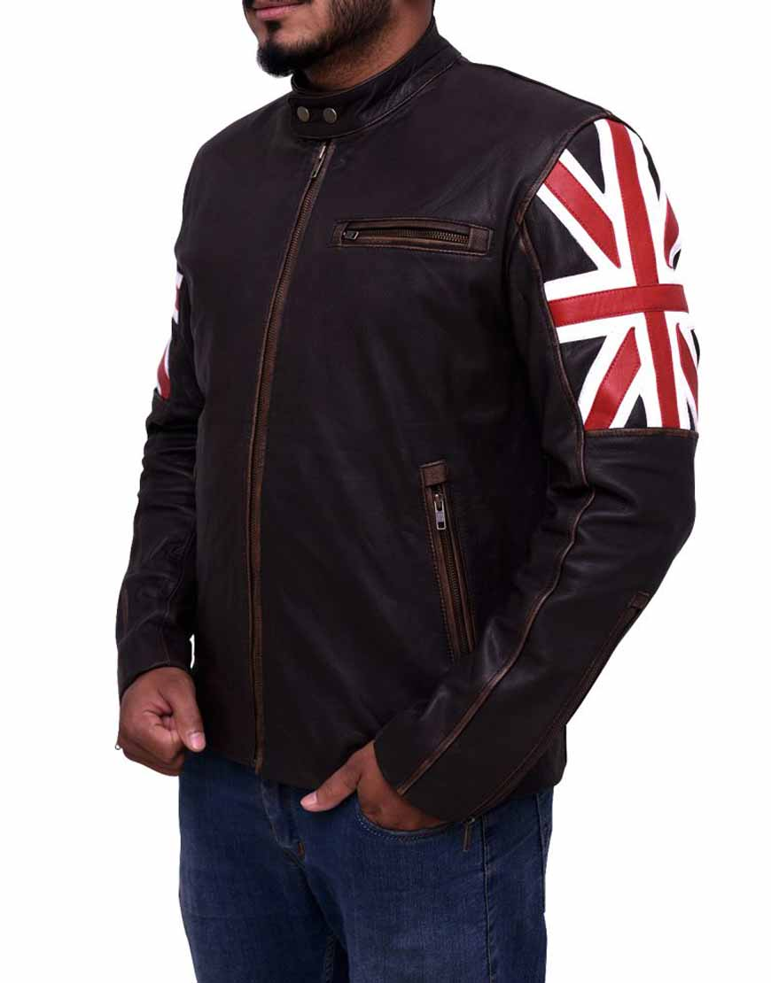 cafe racer uk flag leather jacket